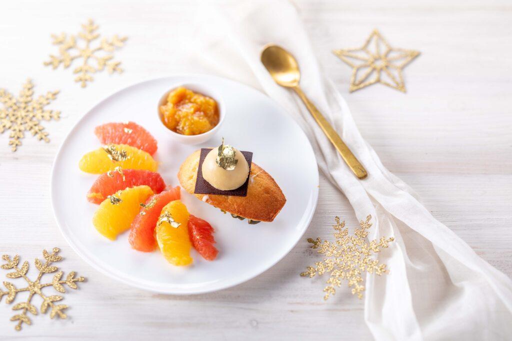 Dessert madeleine agrumes chocolat pistache
